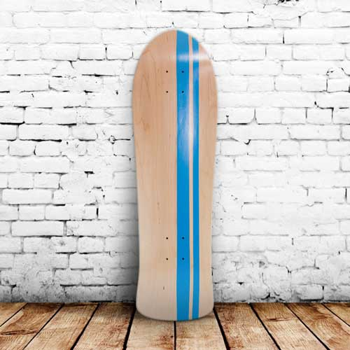 Finished skateboard with blue stripes