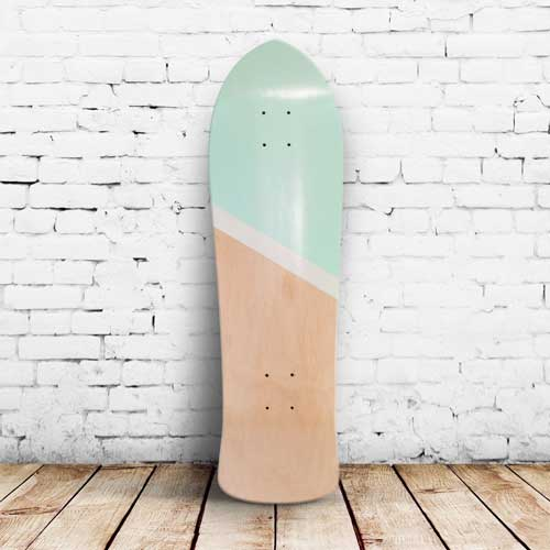 Finished skateboard seafoam and white
